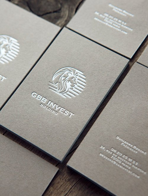 Cartes De Visite Pantone Argent Sur Papier Fedrigoni Sirio Color Pietra Letterpress Business Cards In