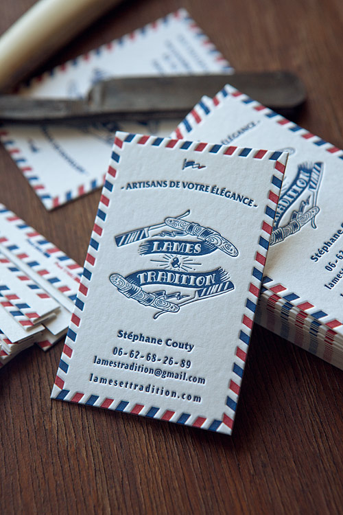 Cartes De Visite Avec Bord Tournant 2 Couleurs Letterpress Business Cards In Two Colors