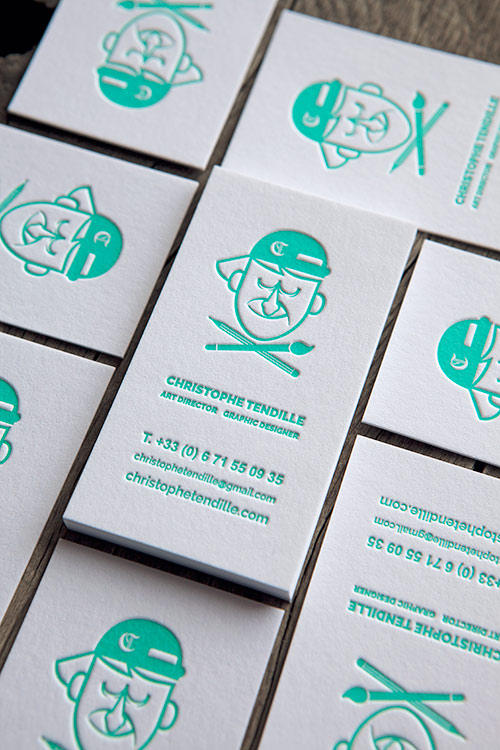 Cartes De Visite Impression Vert Deau 333U Recto Seul Letterpress Business Cards Printed