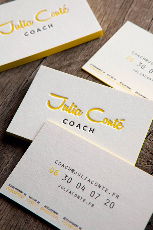Cartes de visite impression typo jaune et noir recto verso / letterpress business cards with 2 colors onto both faces