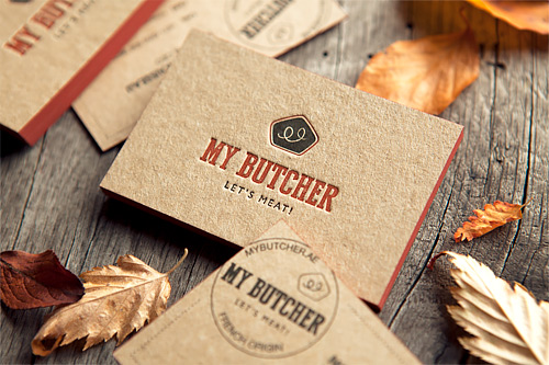 Les cartes de My Butcher ont été imprimées sur un carton reçyclé 630g avant de partir pour Dubaï / A 2-colors print for theses business cards in a kraft-like paper / printed by Cocorico Letterpress, designed by InkdropsCo
