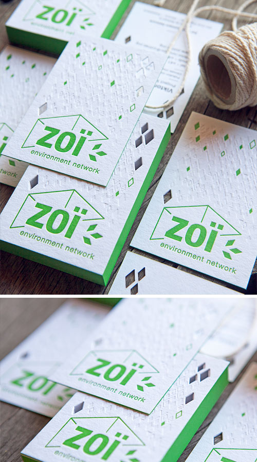 Les cartes de visite de l'agence environnementale Zoi ont été imprimées en 2 couleurs et un sans encre mais c'est la découpe des petits losanges qui a surtout représenté un défi ! / A die-cut challenge for the letterpress printed business cards of Zoï / print by Cocorico Letterpress, design by Carolyne Daniel