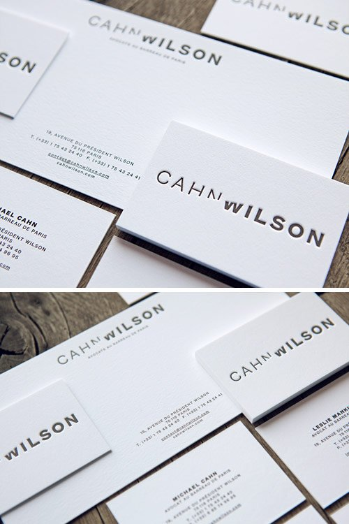 Cartes de visite et correspondance pour le cabinet d'avocats Cahn Wislon à Paris / letterpress stationery for a parisian law office / printed by Cocorico Letterpress, designed by Trafik