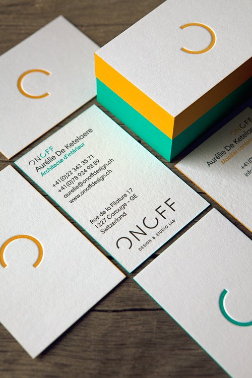 Cartes ON OFF Imprimes En 2 Couleurs Et Noir Letterpress Business Cards In Variations