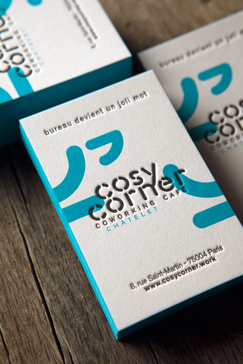 Cartes de visite pour espace de coworking Cosy Corner / letterpress business cards for a coworking space