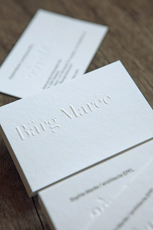 Cartes De Visite Gaufrage Et Impression Typo Au Verso Blind Emboss And Letterpress Kiss For
