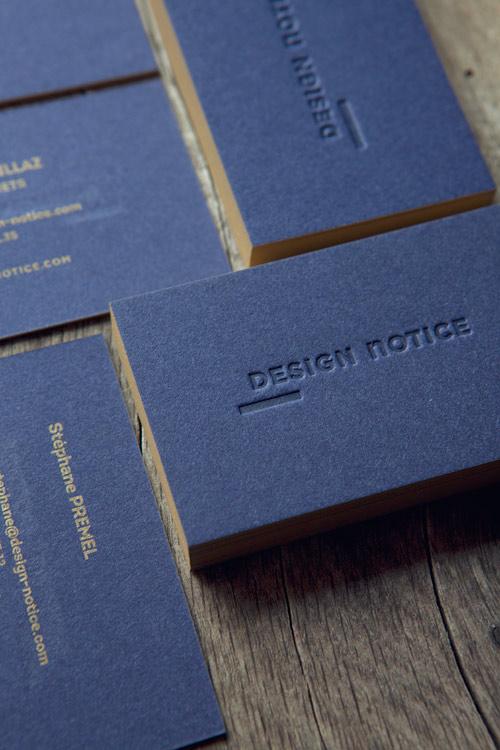 Cartes De Visite Ton Sur Et Pantone Dore 871 Papier Coton Bleu Nuit