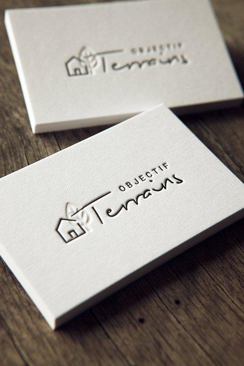 Cartes De Visite Impression Noir En Recto Verso Debossage Sans Encre Sur Coton Epais