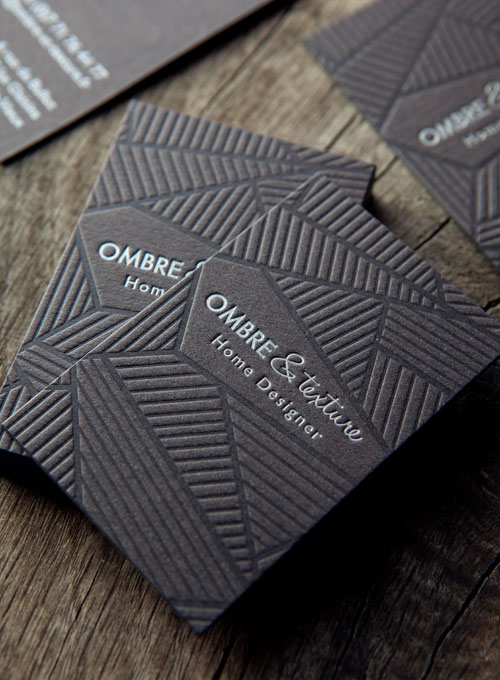 Impression ton sur ton et argent sur papier recyclé noir pour les cartes Ombre et Texture / letterpress business cards printed in tonal and silver onto recycled black paper