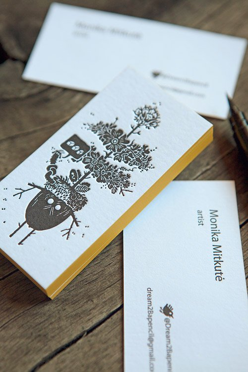 Cartes de visite 1 couleur recto verso sur papier 500g / letterpress business cards in black with edge-painting