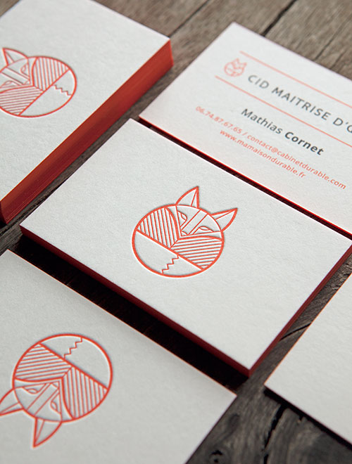 Cartes De Visite Impression Recto Verso Sur Papier Buvard Blanc Naturel Letterpress Business Cards Printed