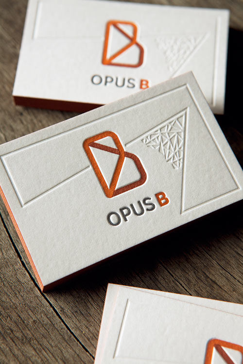 Cartes de visite restaurant Opus B, impression typo 3 couleurs et débossage à sec / letterpress business cards printed whith 3 colors and blind deboss for a new restaurant in Geneva