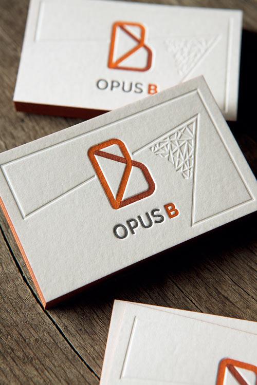 Cartes De Visite Restaurant Opus B Impression Typo 3 Couleurs Et Debossage A Sec