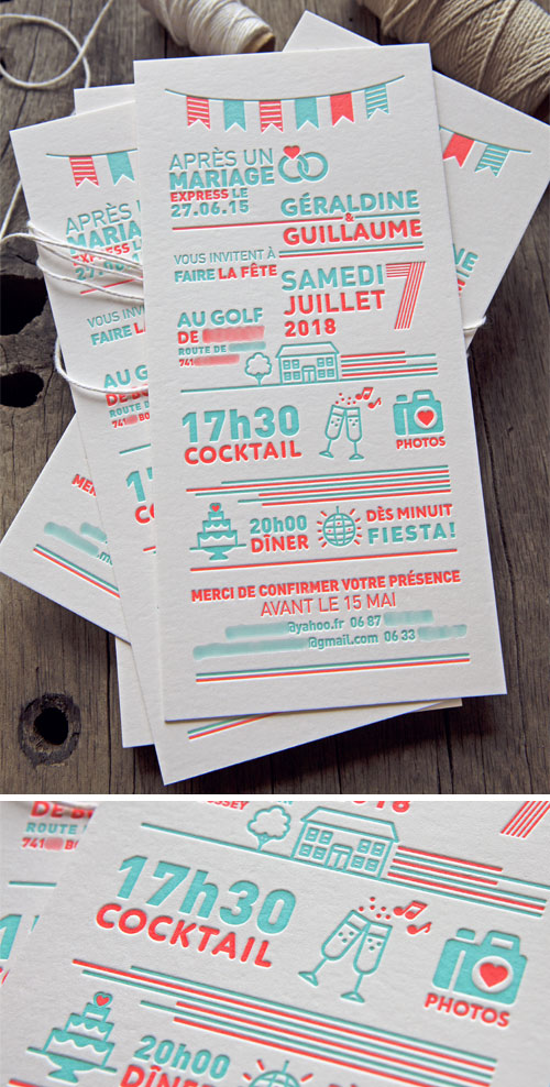 Après un mariage express, une invitation anniversaire des 3 ans d'union de Géraldine et Guillaume, créée et imprimée par l'atelier / 3rd Wedding Anniversary invite designed and printed in 2 colors by Cocorico Letterpress