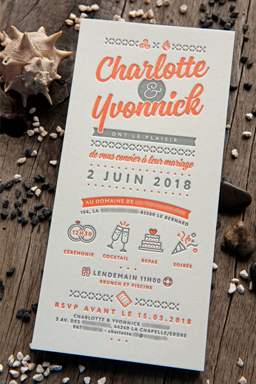 Invitation de mariage de Charlotte et Yvonnick créée et imprimée par Cocorico Letterpress / Wedding invite designed and printed in 2 colors by Cocorico Letterpress