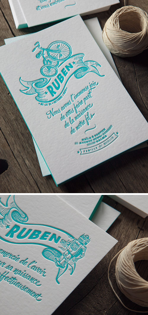 Faire-part naissance Ruben et carton remerciements en letterpress 1 couleur / letterpress birth announcement and thank you card in one color