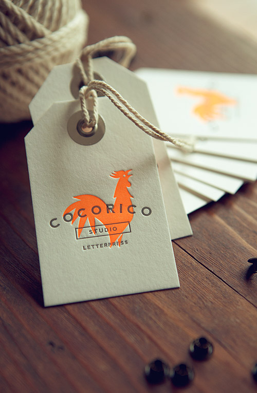 Carte Letterpress Cocorico De Visite Presse Typo Impression Etiquette Label