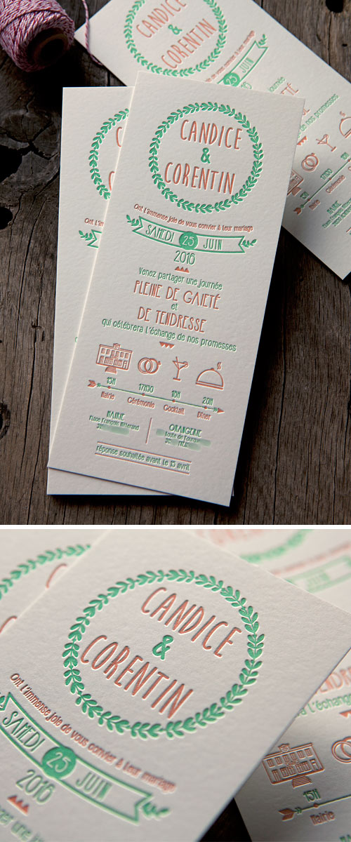 Faire-part champêtre imprimlé en 2 couleurs / 2 colors letterpress wedding invite