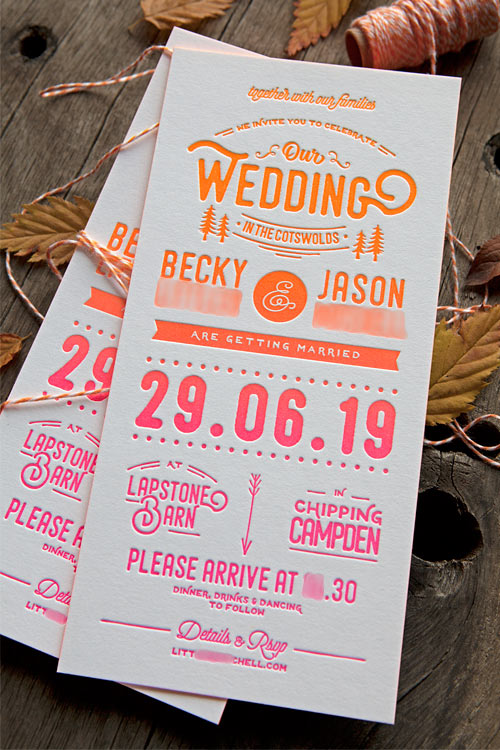 Osez les couleurs fluo pour votre faire-part de mariage, il restera dans les mémoires de vos invités ! / A neon split fountain wedding invite that nobody will forgot / Design and print by Cocorico Letterpress