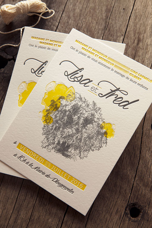 Faire-part de mariage en jaune et gris anthracite / letterpress wedding invite with bitmap images