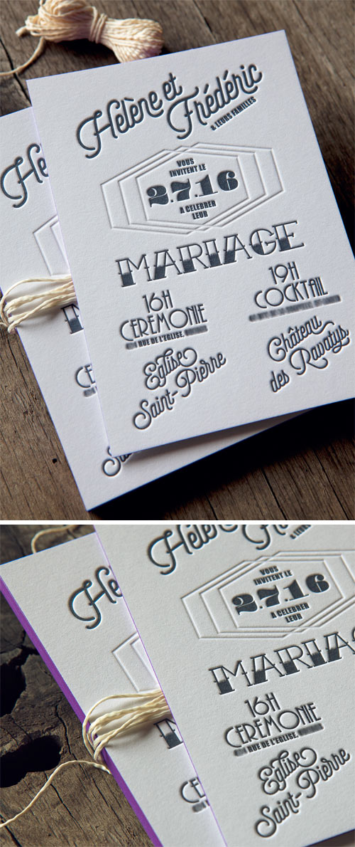 Inspiration tatouage pour cette inviation de mariage imprimée sur papier coton épais 600g / tattoo spirit for this small letterpress printed wedding invite