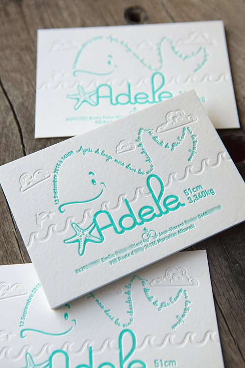 Faire-part de naissance mint et débossage à sec / letterpress birth announcement printed in mint whith a blind deboss