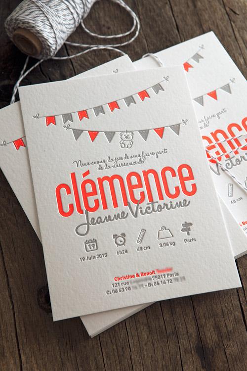 Super Galerie letterpress faire-part naissance carte voeux visite GV55