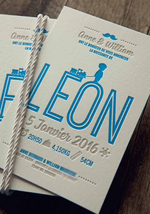 Faire-part Léon en 2 couleurs feutre 500g / letterpress baby announcement printed by Cocorico Letterpress