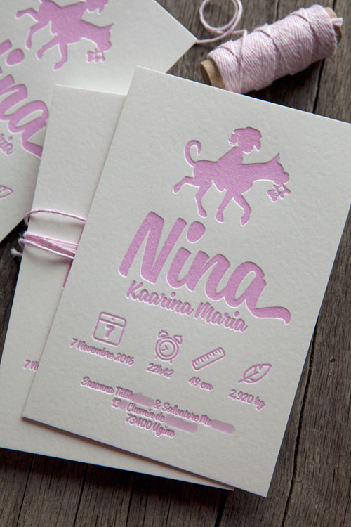 Faire-part de naissance Nina en rose pastel 2365U - modèle Cocorico Letterpress personnalisable / Customizable baby girl birth announcement card in pastel pink
