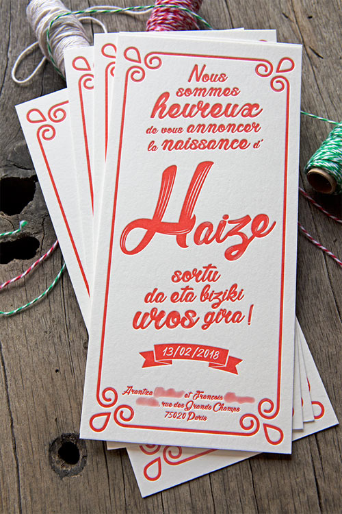 Faire-part de naissance Haize au format 10x21cm imprimé sur buvard blanc naturel 500g/m2 / Baby birth announcement card printed by Cocorico Letterpress