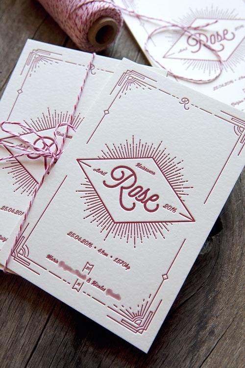 Creation Personnalisable Cocorico Letterpress Pour Carton De Naissance Style Vintage Et Art Deco Baby Birth