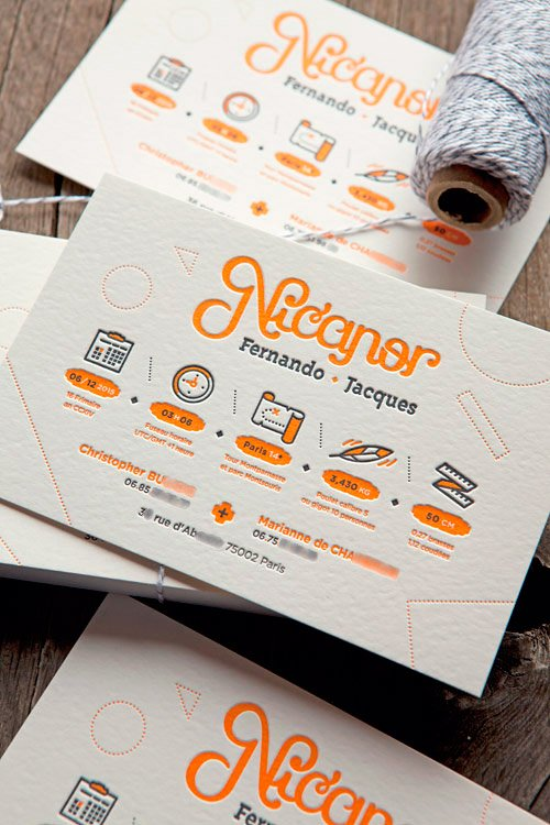 Faire-part garçon orange sur papier aspect feutre 500g / letterpress baby announcement printed by Cocorico Letterpress