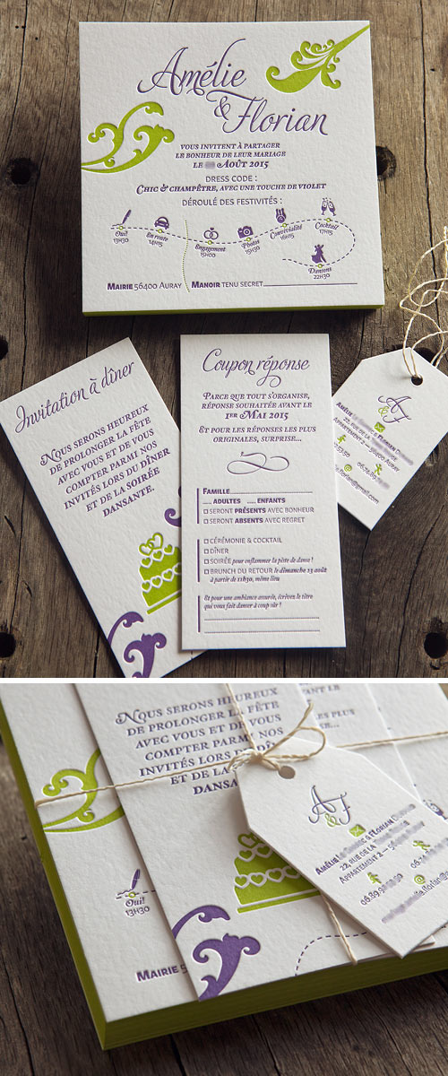 Suite faire-part mariage champêtre letterpress 2 couleurs // letterpress wedding suite in 2 colors