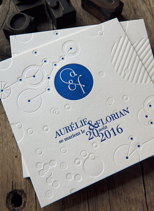 Carton Mariage Esprit Constellation En Bleu Et Debossage A Sec Letterpress Wedding Announcement With Bind