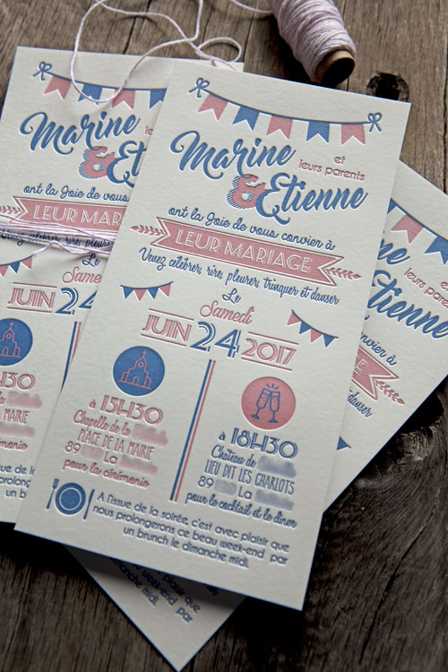 Invitation de mariage en 2 couleurs sur buvard blanc naturel 500g / wedding letterpress invite in 2 colors