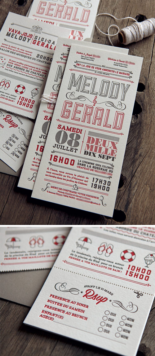 Ensemble invitation de mariage + carton info & RSVP imprimé en rouge et gris sur papiers 500g et 350g / custom wedding letterpress invite by Cocorico Letterpress workshop
