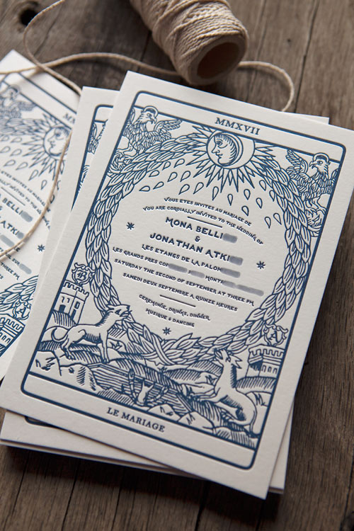 Faire-part de mariage inspiré des images du tarot / Wedding letterpress invites inspired from tarot card game / design by Jonathan Atkins and print by Cocorico Letterpress