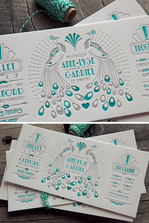 Carton de mariage en 2 couleurs avec surimpression sur buvard blanc naturel 500g / wedding letterpress invite in 2 colors