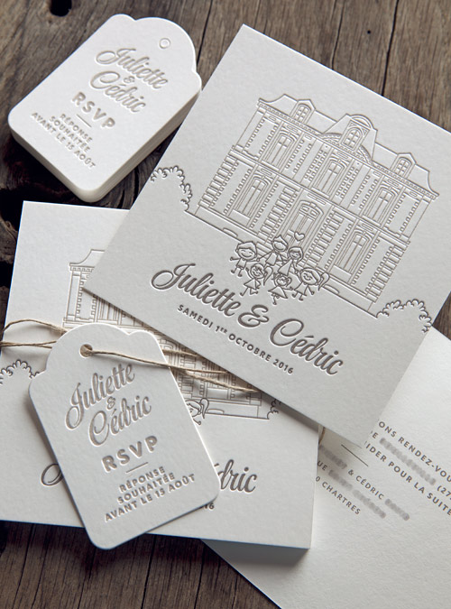 Faire-part de mariage en impression letterpress 2 couleurs avec dessin enfant et découpe étiquettes sur buvard blanc naturel 500g / wedding letterpress invite in 2 colors - design Cocorico Letterpress
