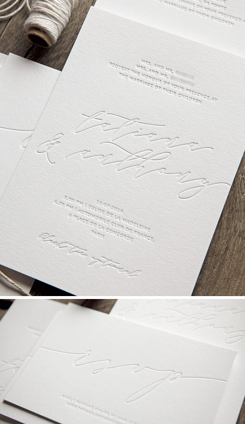 Tatiana et Anthony ont imaginé leur faire-part de mariage tout en élégance avec une jolie calligraphie, et en subtilité par le choix d'une impression en débossage sans encre uniquement / An elegant and very chic wedding invite printed in a total blind deboss / Cocorico Letterpress