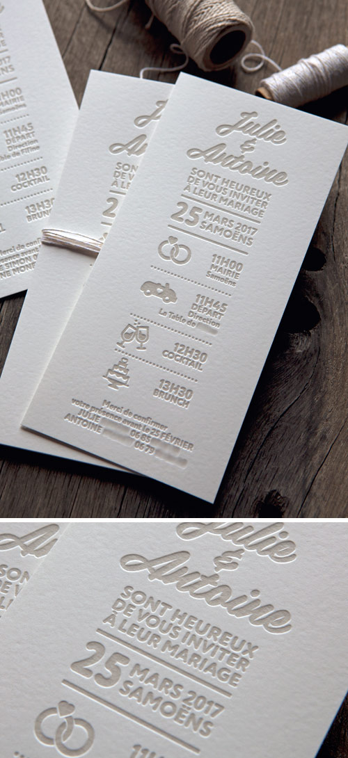 Faire-part de mariage format 10x21cm 1 couleur / classic wedding letterpress invite printed by Cocorico Letterpress