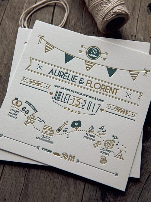 cr ation faire part mariage original en letterpress papier coton. Black Bedroom Furniture Sets. Home Design Ideas