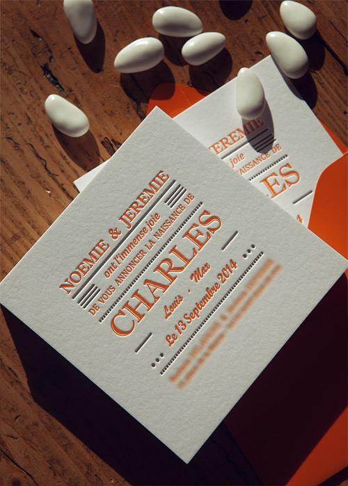 Exceptionnel Galerie letterpress faire-part naissance carte voeux visite YZ93