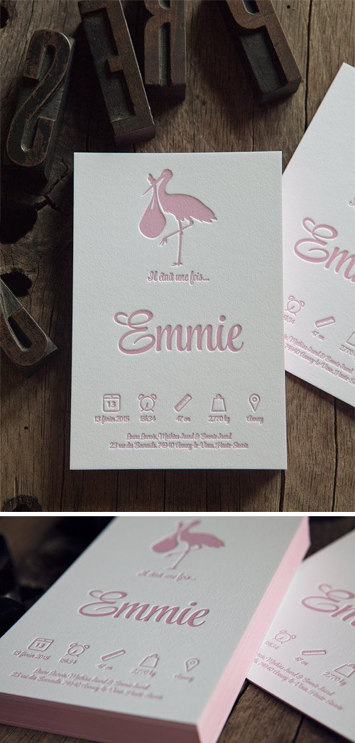 Faire-part de naissance en rose pastel et couleur sur tranche sur papier français 100% coton 710g / letterpress birth announcement in pastel pink whith edge-painting on heavy french cotton paper