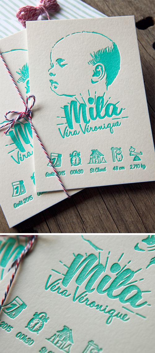 Faire Part De Naissance Mila Imprime En Vert Menthe Mint Letterpress Printed Baby Announcement