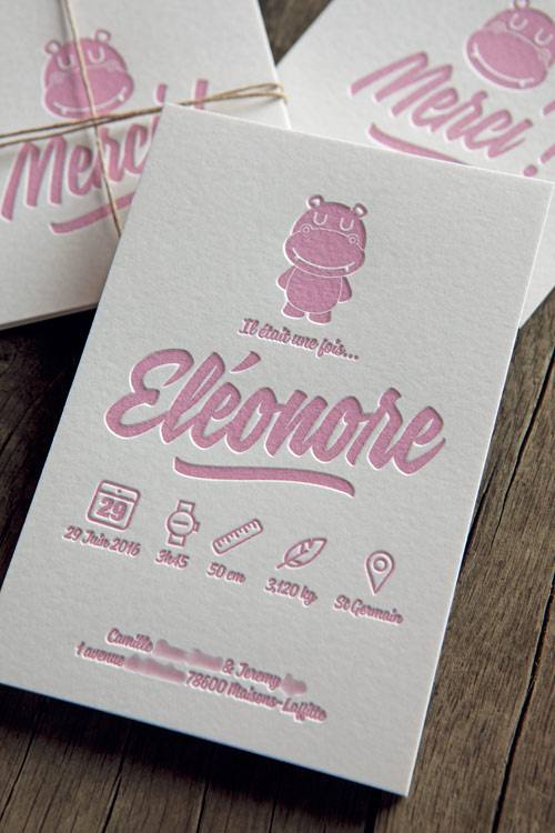 Carton de naissance Eléonore - design Cocorico Letterpress personnalisable avec hippopotame / Customizable baby birth announcement card with hippopotamus