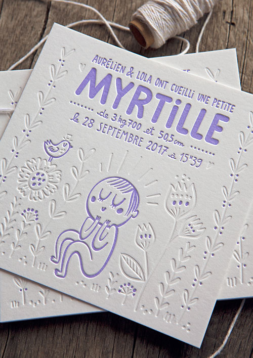 Faire-part de naissance Myrtille avec illustration réalisée par Lola Draloug / special illustration for this baby birth announcement created by the artist Lola Draloug and printed by Cocorico Letterpress