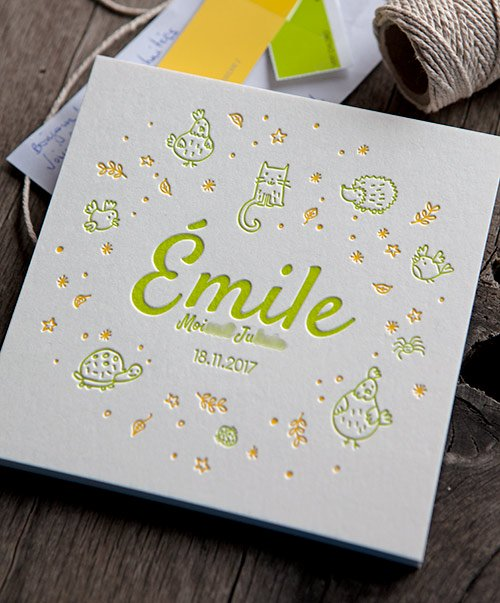 Faire-part de naissance Emile en jaune et vert acidulé / baby birth announcement created by the mom and printed by Cocorico Letterpress