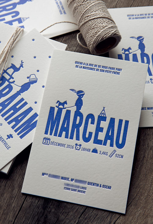 Exemples de personnalisation pour faire-part de naissance Cocorico Letterpress / Examples of custom baby birth announcement cards proposed by Cocorico Letterpress