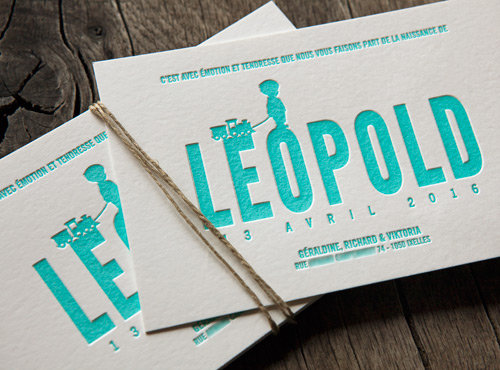 Faire-part naissance Leopold couleur vert d'eau pantone 3242U / birth announcement with little boy letterpress printed in aquagreen pantone